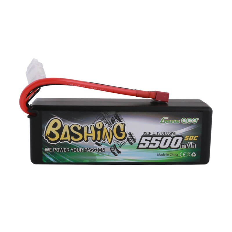 Gens ace bashing series 5500mAh 11 1V 50C 3S1P HardCase 15# car Lipo  Battery with T-plug