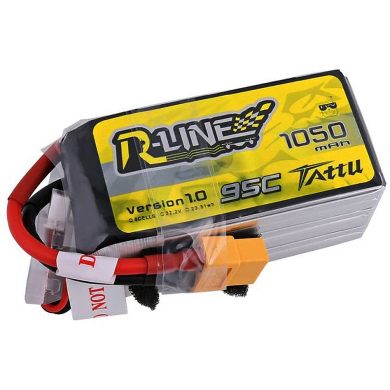 Tattu R-Line 1050mAh 95C 22 2V 6S1P Lipo Battery Pack with XT60 Plug