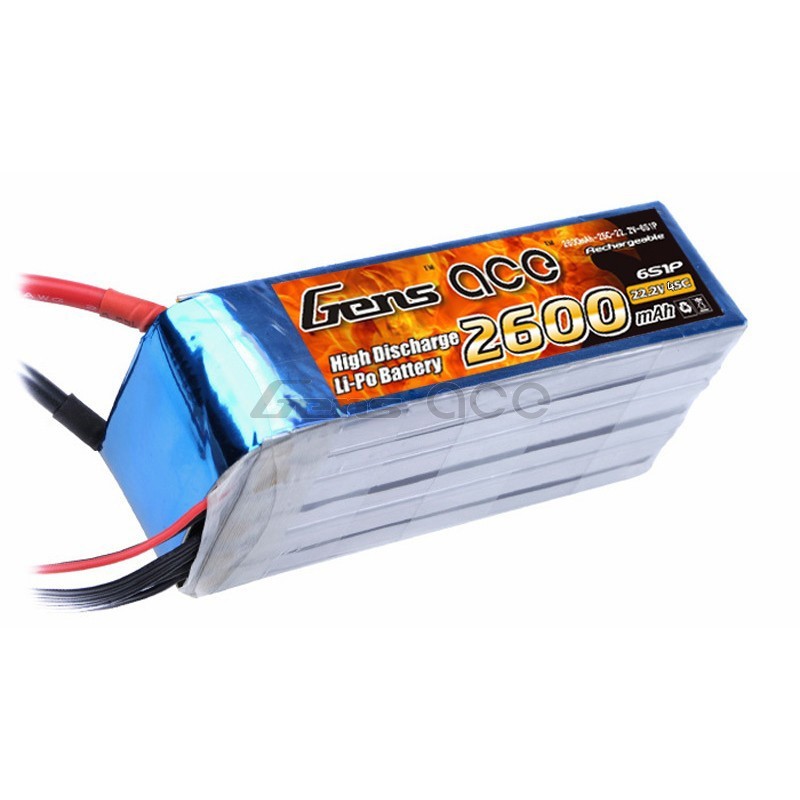 Gens ace 2600mAh 22 2V 45C 6S1P Lipo Battery Pack