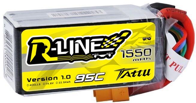 Tattu R-Line 1550mAh 95C 4S1P lipo battery pack FPV Drone Racing Power