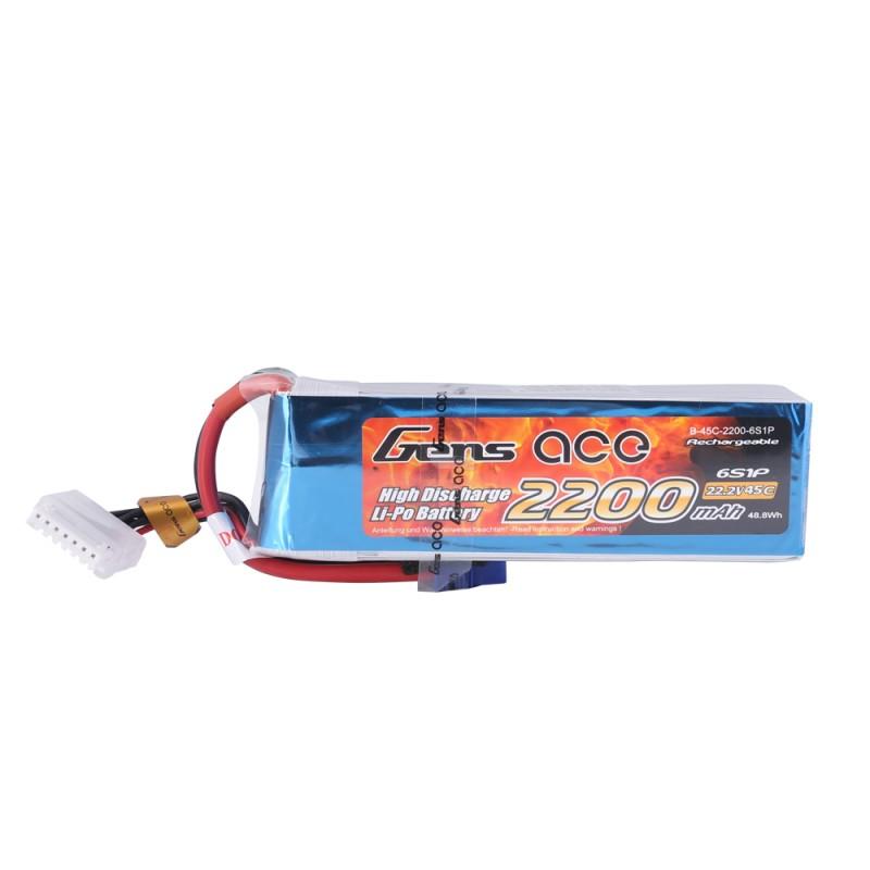 Gens ace 2200mAh 22.2V 45C 6S1P Lipo Battery Pack