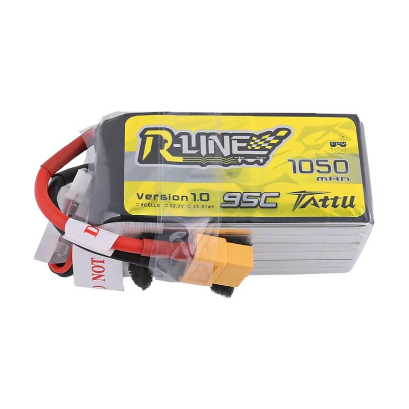 Tattu R-Line 1050mAh 95C 22.2V 6S1P Lipo Battery Pack with XT-60 Plug