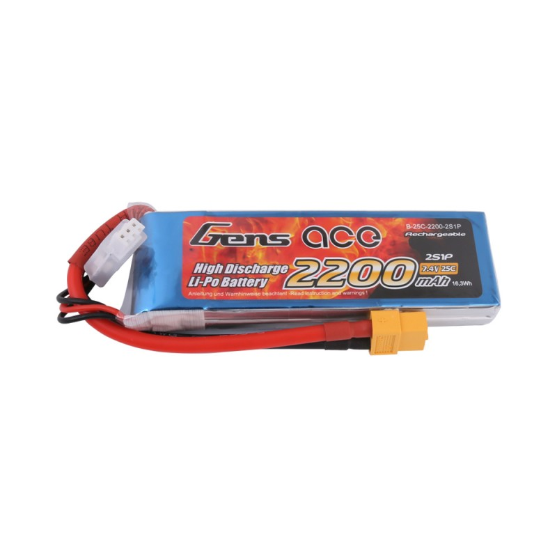 Gens ace 2200mAh 7.4V 25C 2S1P Lipo Battery Pack