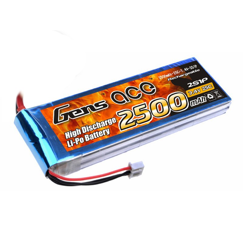 Gens ace 2500mAh 7.4V 25C 2S1P Lipo Battery Pack