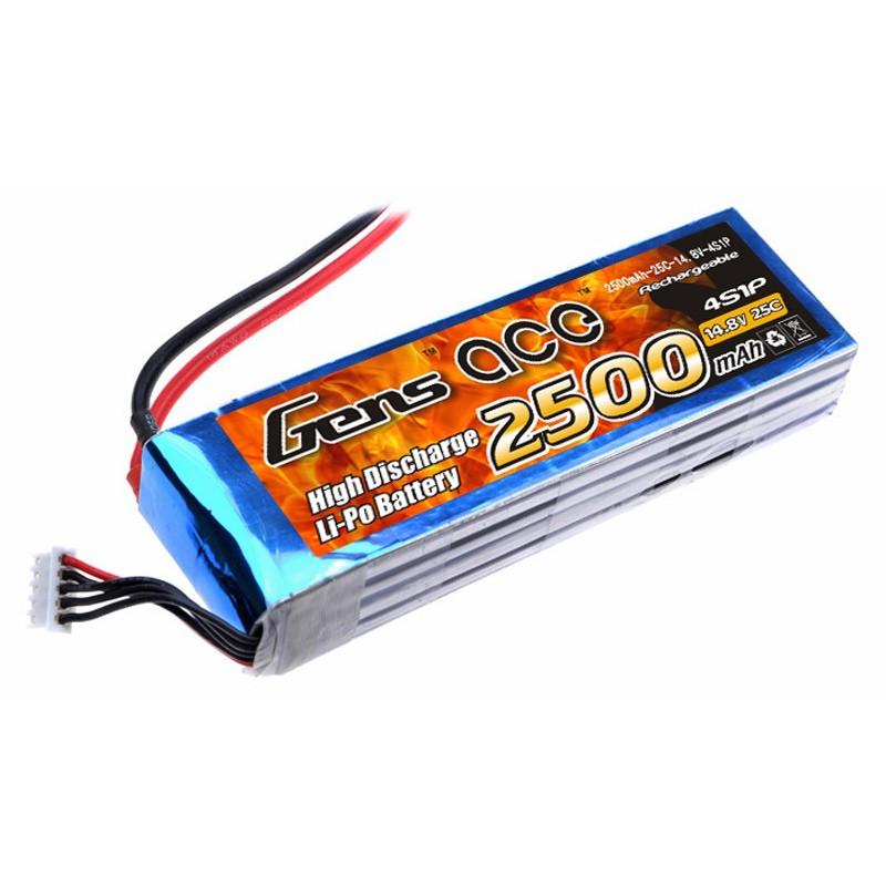 Gens ace 2500mAh 14.8V 25C 4S1P Lipo Battery Pack