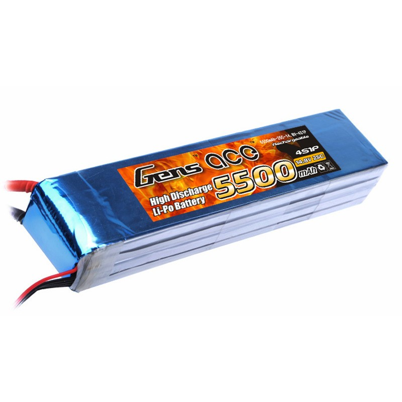 Gens ace 5500mAh 14.8V 25C 4S1P Lipo Battery Pack