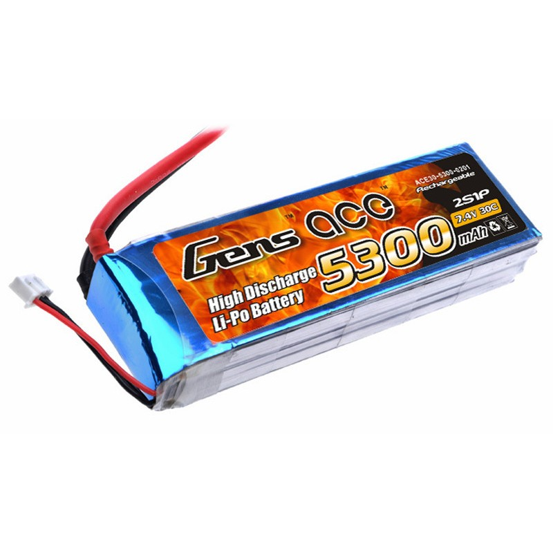 Gens ace 5300mAh 7.4V 30C 2S1P Lipo Battery Pack