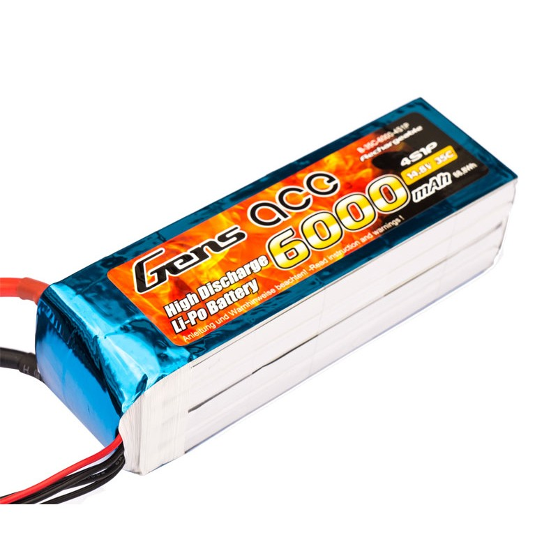 Gens ace 6000mAh 14.8V 35C 4S1P Lipo Battery